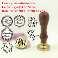 Custom Name Wedding Wax Stamp Initial Stamp Wood Handle DIY Ancient Seal Retro Stamp Personalized Stamp