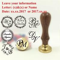Custom Name Wedding Wax Stamp Initial Stamp Wood Handle DIY Ancient Seal Retro Stamp Personalized Stamp