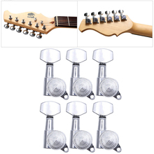 Set of 6 Guitar String Tuning Pegs Locking Tuners Keys Machine Heads Chrome Musical Instruments Guitars Basses Parts Accessories