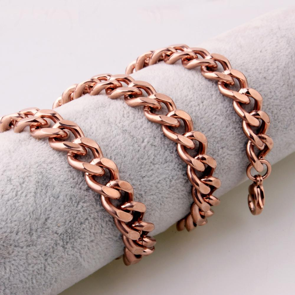 Polished Men 39 s necklace Stainless Steel 11 13 15mm Rose Gold Cuban Curb Cube Link Chain Men 39 s Women 39 s Necklace or Bracelet 7 40 39 in Chain Necklaces from Jewelry amp Accessories