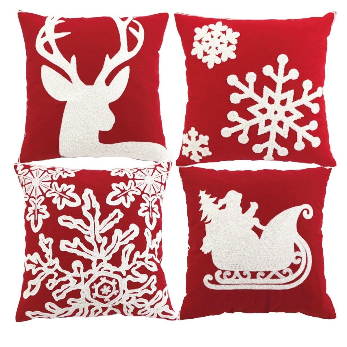 Enipate 45*45cm Christmas Style 100% Cotton Canves Wool Embroidery Christmas Sofa Cushio ...