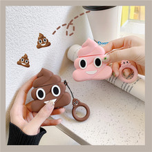 INS 3D Cute Cartoon Funny Emoji For Apple Airpods 1 2 Bluetooth Wireless Earphone Case Silicone Headphone Finger Ring Straps