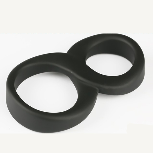 1pc Two Rings design Black Silicone Time Delay Smooth Touch Penis Rings Cock Rings, Adult Products Male Sex Toys for Adult Game