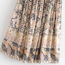 Boho Chic Summer Vintage Floral Print Long Skirt Women 2019 Fashion Lace Up Elastic Waist Side Slit Beach Skirts Faldas Mujer