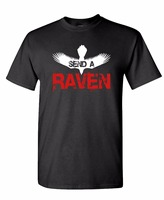 New Personality Summer casual SEND A RAVEN thrones song ice fantasy Men's O Neck cotton T-shirt