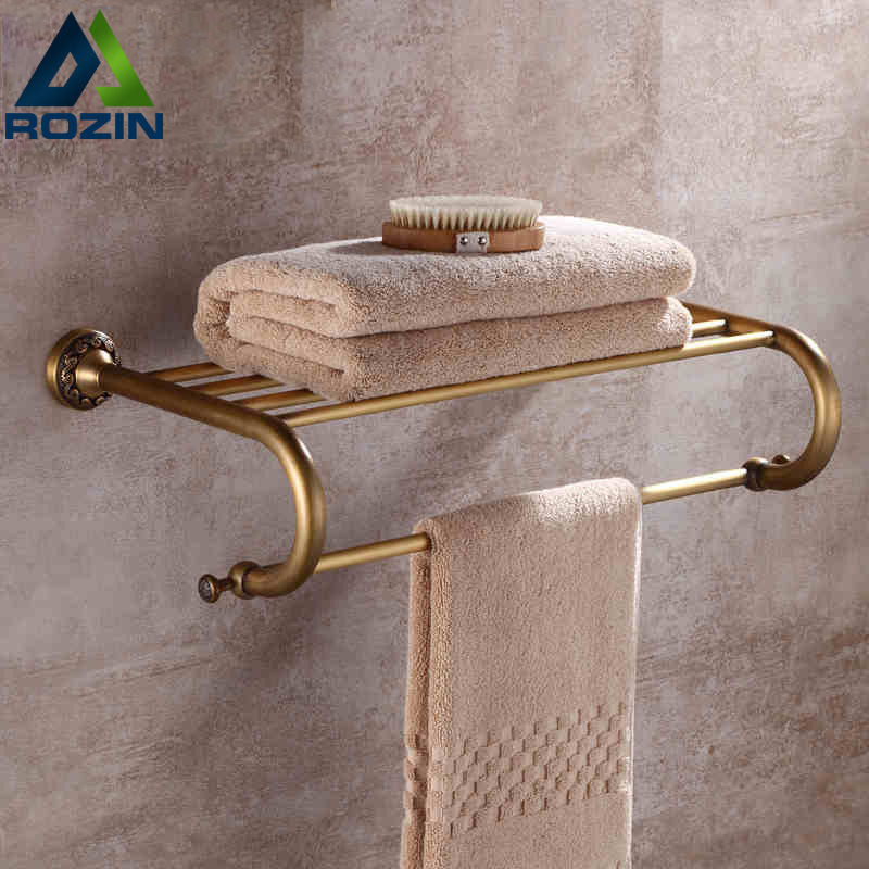 Wholesale And Retail Wall Mount Antique Bathroom Bath Towel Rack Brass Storage Holder Shelf Towel Bar free shipping wholesale and retail promotion crystal bathroom towel rack holder antique brass ceramic base towel ring holder