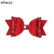 цена на 1PC Retail Glitter Leather Hair Clip 10.5CM Bow Hairpins Cartoon Children Hair Accessories Barrettes Headdress Girls' Headwear