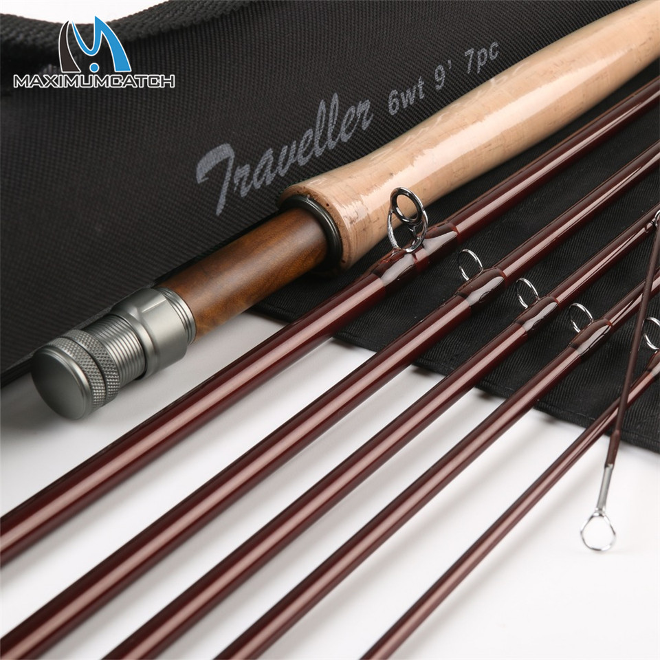 Maximumcatch 9ft 6wt 7pcs Half-well Fast Action Carbon fiber Fly rod with Cordura tube Traveler Fly fishing rod maximumcatch top grade 4wt 5wt 6wt 7wt 8wt fly rod 9ft carbon fiber fast action black star fly fishing rod with cordura tube