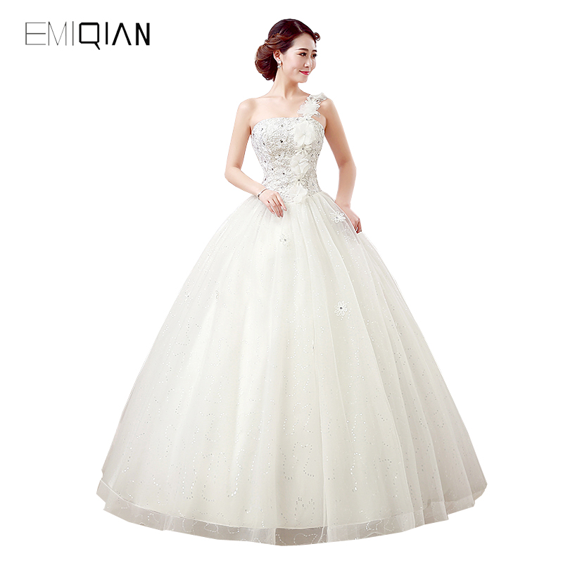 New Gorgeous A Line One Shoulder Sequined Tulle Lace Bridal Wedding Dress