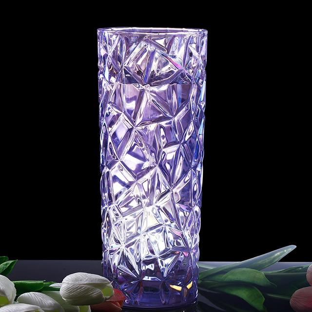 Purple Cut Glass Flower Vase Ornamental Quartz Crystal Pitcher Vase