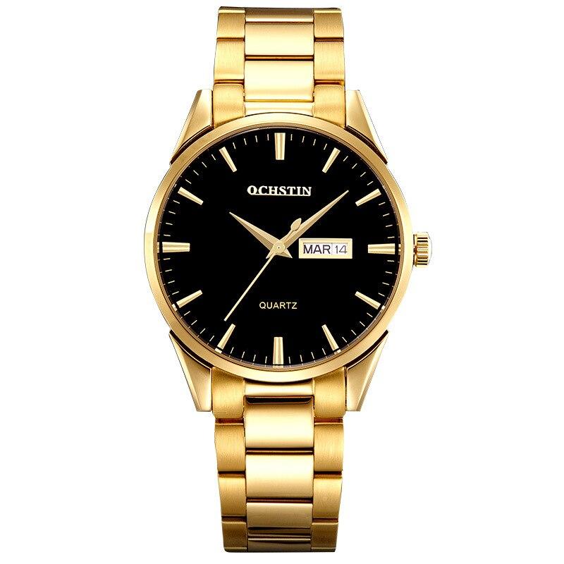 Swiss men's casual fashion luxury men's steel large dial waterproof double calendar business high end watch men