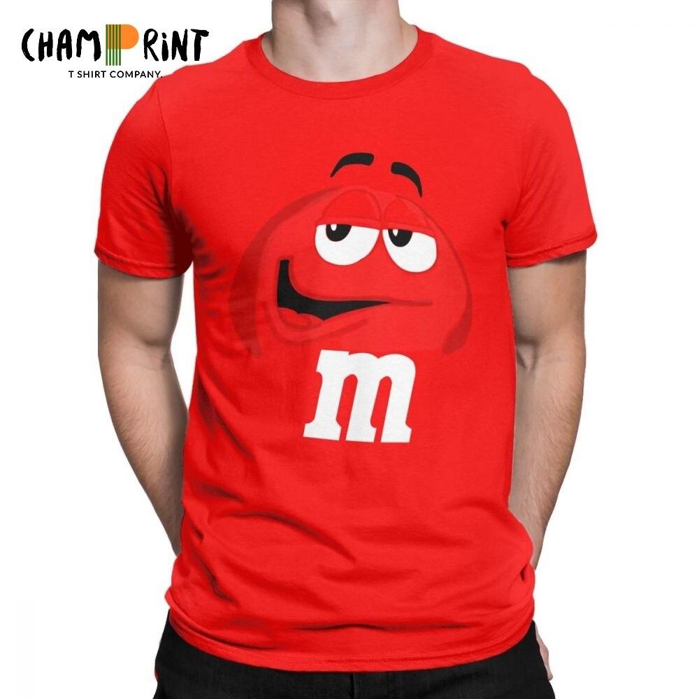 M & M Doces de Chocolate de Caráter Rosto Tees Curto Nova Moda T Camisa de Algodão Puro dos homens Surpreendentes T-Shirt sleeve Tops Plus Size