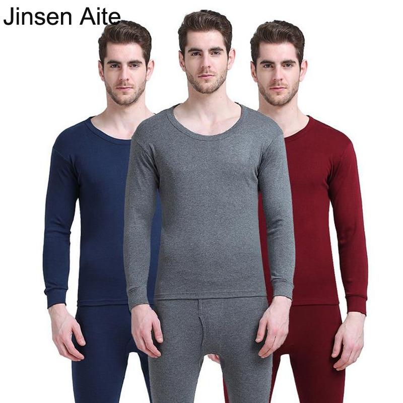 Jinsen Aite 100% Cotton Winter Autumn Men Long Johns Pantalon Termico Hombre Plus Size O-Neck Warm Thermal Underwear Sets JS643