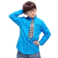 2T-14T New 2016 spring children's clothes boys casual white shirt baby boy's students solid pure cotton long sleeve polos shirt