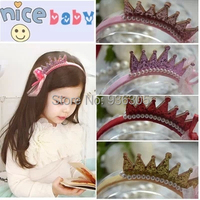 6pcs/lot Hot new Baby Accessories Lace Polyester Bows Crown pearl hair band Children Girl Jewelry Hairwear Headband