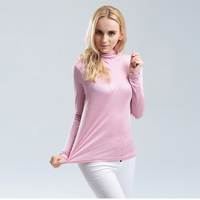 Plus Size Spandex Top Women T Shirt 100 Real Silk Basic Turtleneck Long Sleeve Bottoming Shirt