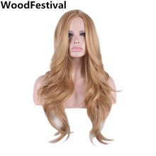 long blonde wavy wig  65cm heat resistant synthetic hair wigs women wig blonde wigs for african american women WoodFestival