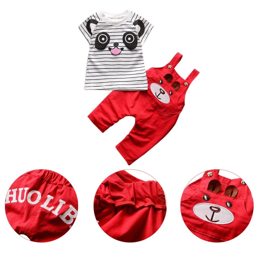 2Pcs/Sets Baby Clothes Sets Boys Cotton Cute Cartoon Panda Striped T-shit+Strap Pants Infant Girls Clothing Sets