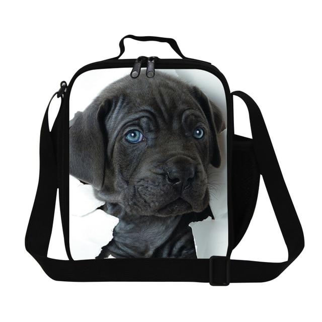 Muchachos frescos del perro 3D imprimir almuerzo bolsa de almuerzo aislada cooler bolso de escuela de los niños, niñas lindo almuerzo contenedor, para mujer bolsa de comida para trabajo