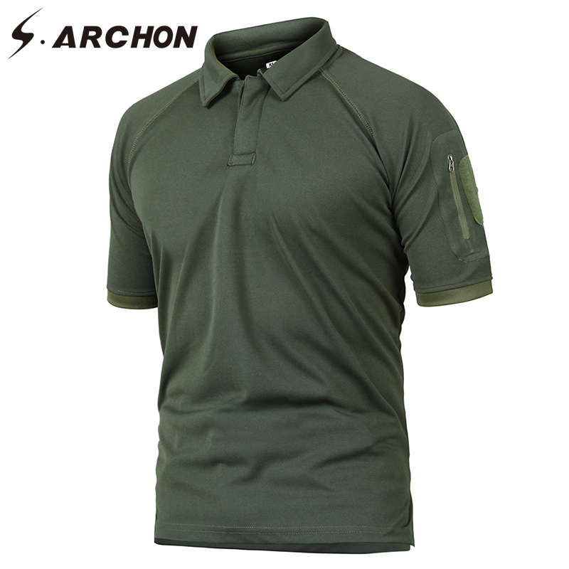 S.ARCHON Summer Tactical Military Army Polo Shirt Men Quick Dry Breathable Casual Polo Shirts Solid Arm Pocket Polo Plus Size