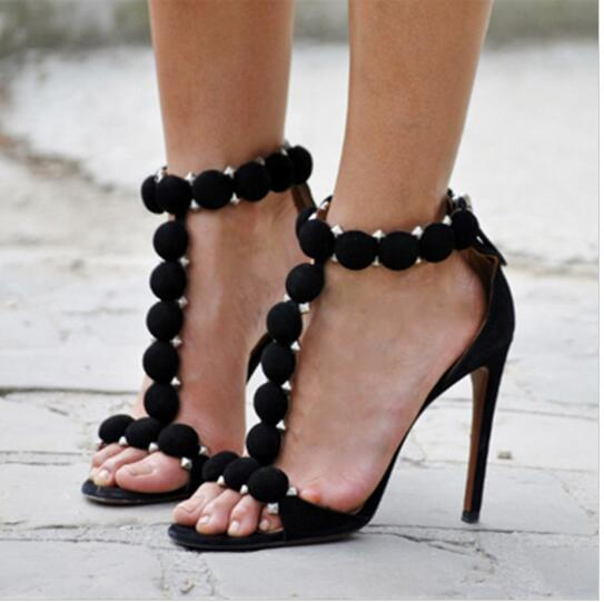 c37f98e050d 2018 Pink  Black T Ankle Strap Heels Pumps Women Lady Shoes Studded Sexy  High Heel Sandals Prom Brand Shoes Woman Summer Sandals