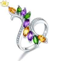 Hutang Multi Gemstone Silver Ring Solid 925 Sterling African Amethyst Citrine Diopside Fine Fashion Stone Jewelry For Women Gift