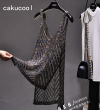 Cakucool Women Hollow Out Knit Tanks Camisole Summer Beading Golden Spaghetti Deep V-neck Sexy See-through Tank Camis Top Women