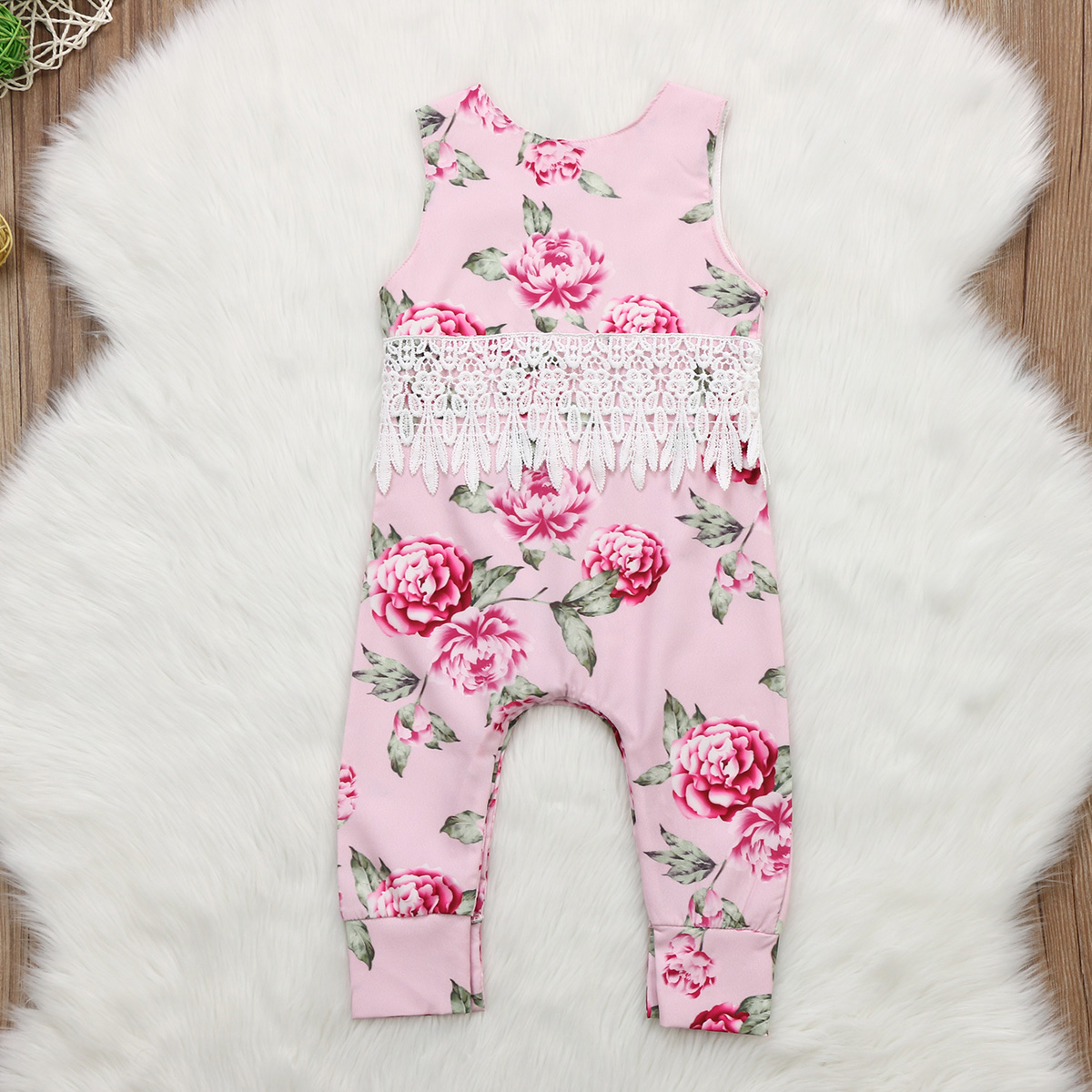 Infant Baby Girl Floral Lace Rompers Jumpsuit Pink Sleeveless Vest One Piece Romper Outfits Summer Kids Clothes