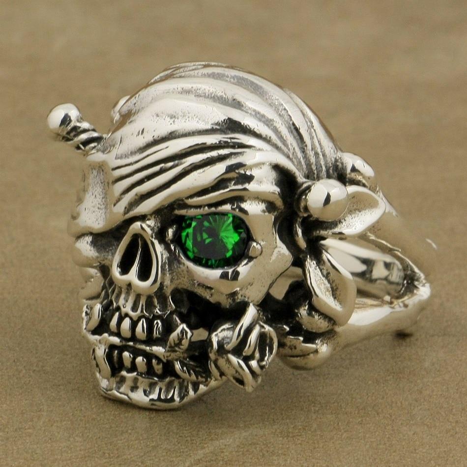 Bague crâne de Pirate en argent Sterling 925 LINSION Rose vert CZ pierre pour hommes Style Punk Rock 9W201 taille américaine 7 à 15