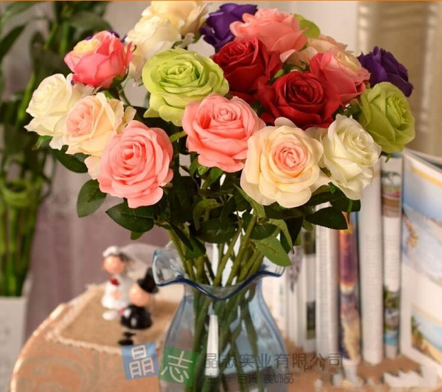 2017 New Styles Artificial Rose Silk Craft Flowers Real Touch