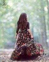 Великолепные кружевные вышитые цветы принцесса выпускного вечера вечерние платья для торжества черный прозрачный тюлевый с длинными рука