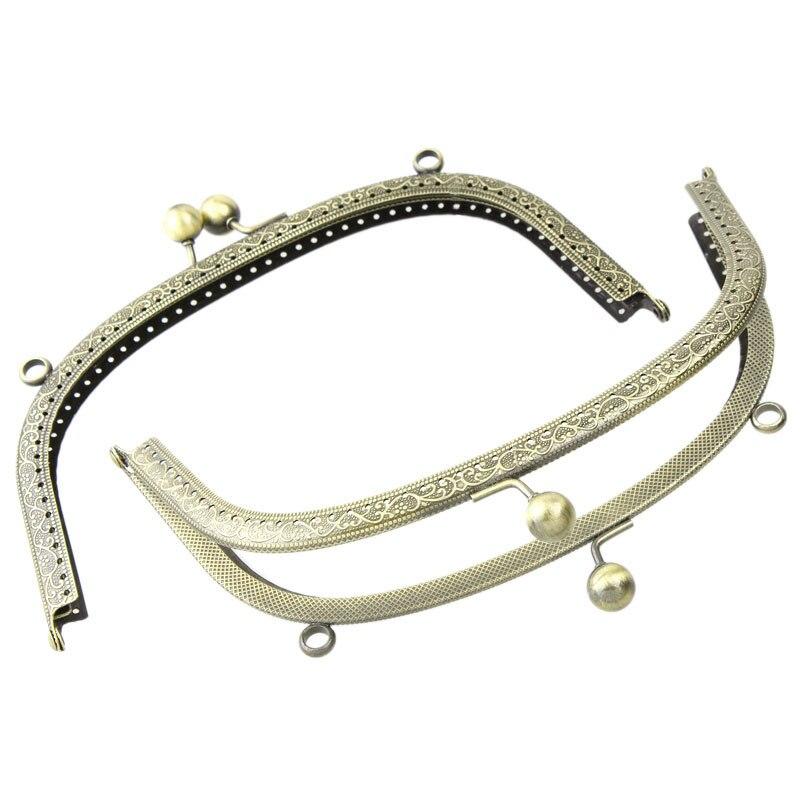 Vintage Bronze Tone Metal Arch Frame Kiss Clasp Lock Handle Clutch Fit Coins Purse Handbag Making 20cm
