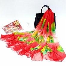 Floral Print Chiffon Scarf Summer Autumn Thin Long Soft Wrap Neck Sunscreen Causal Lady Elegant Beach Towel Fashion bufanda