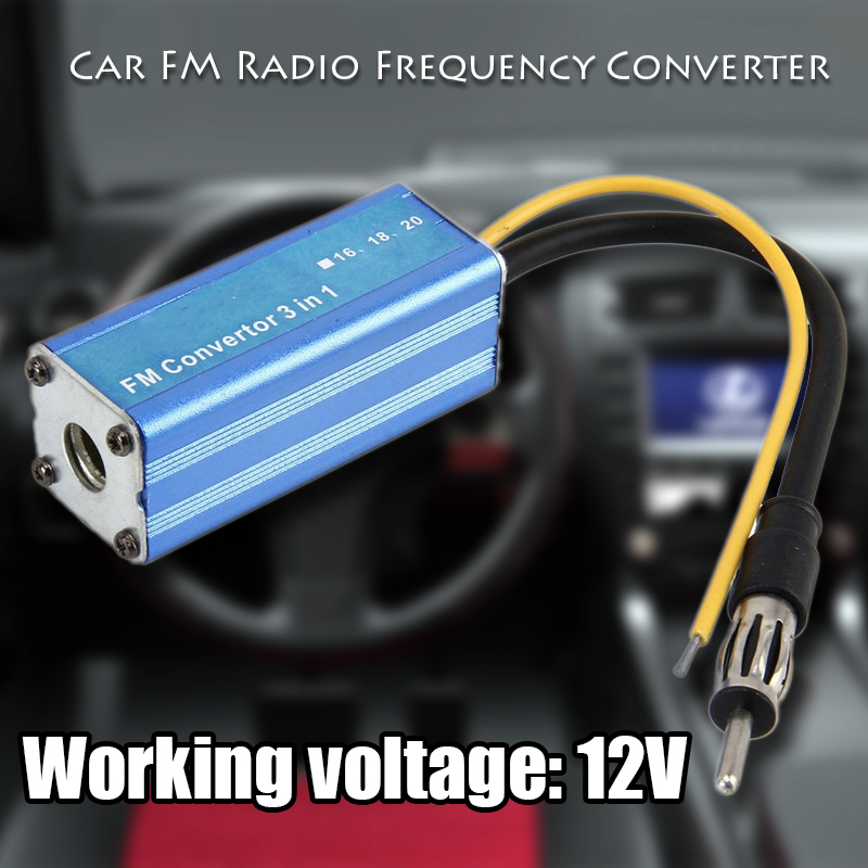 Car Vehicle Blue Aluminum Alloy 3 in 1 FM Band Frequency Expander Converter