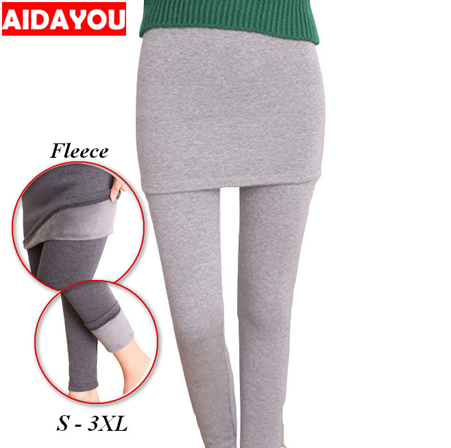 Skirt Leggings Winter  Fleece Lined Seamless Ultra Soft Stretch Skirted Trip Blend Calf  Korean Thermal Plus Size Ouc902 Aidayou
