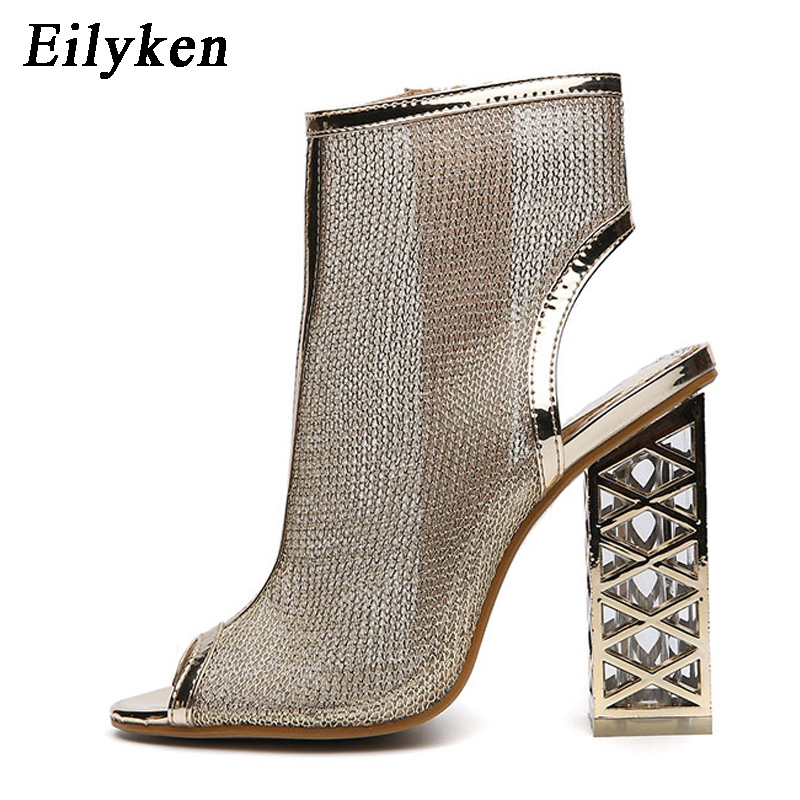 Eilyken New Sexy Golden Bling Gladiator Sandals Peep Toe Zip Shoes Clear Chunky Transparent Heels Pumps Sandals Women Boots