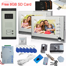 Video Intercom With Recording on SD Video Monitors For Video Surveillance CCD Camera With Rfid Unlock Electronic Lock Videophone