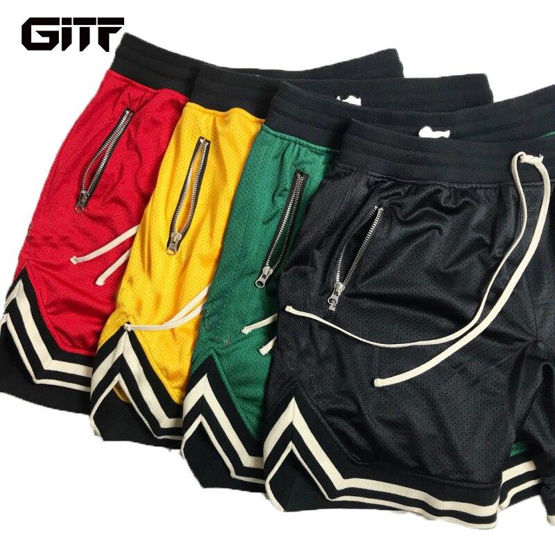GITF 2019 Mens Gym Fitness Shorts Bodybuilding Jogging Workout Male Slim Fit Short Pants Knee Length Breathable Mesh Sweatpants