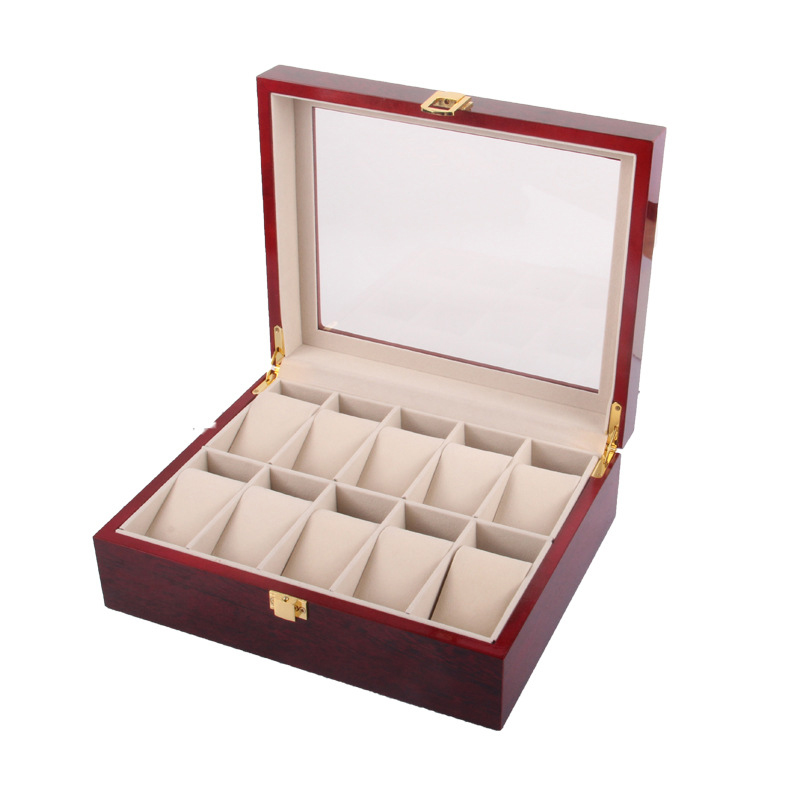 10 Slots Wood Watch Display Box Wooden Watch Storage Box With Lock Fashion Luxury Wood Watch Gift Jewelry Cases han 10 grids wood watch box fashion black watch display wooden box top watch storage gift cases jewelry boxes c030