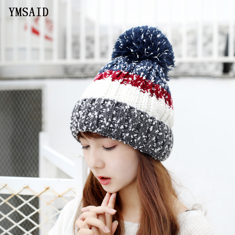 High Quality   Beanies   Cotton Add Wool Fur Ball Cap Pompoms Winter Hat For Women Girl Ski Hat Knitted Warm   Skullies   Cap