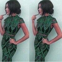 Оптовая продажа 2019 летнее новое платье зеленое кружевное перспективное модное сексуальное платье знаменитостей для ночного клуба коктейл...