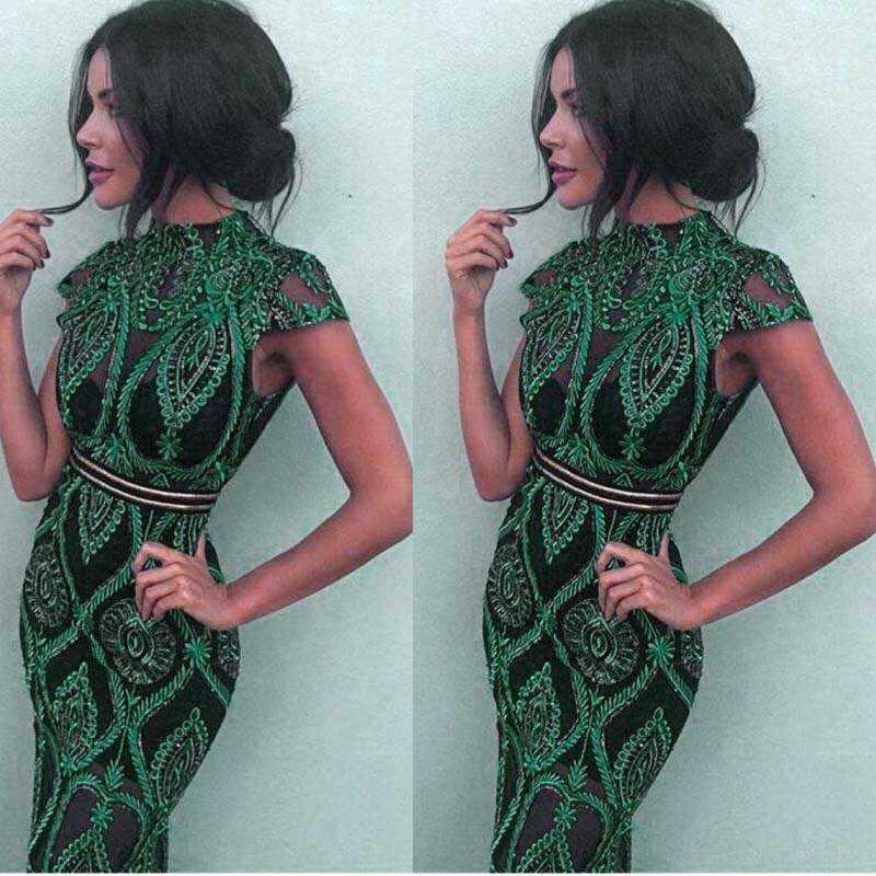 Оптовая продажа 2019 летнее новое платье зеленое кружевное перспективное модное сексуальное коктейльное платье для ночного клуба (L2359)