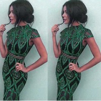wholesale 2019 summer New Dress green Lace perspective Fashion sexy Celebrity Nightclub Cocktail party dress (L2359)