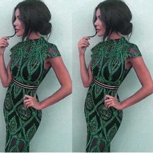 wholesale 2020 summer New Dress green Lace perspective Fashion sexy Celebrity Nightclub Cocktail party dress (L2359)