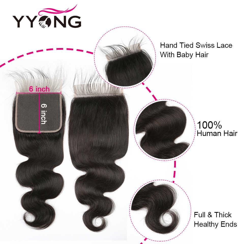 Young สาว Hair Brazilian Body WAVE 3 รวมกลุ่มปิด 6X6 ปิดลูกไม้ด้วยการรวมกลุ่ม Remy Human Hair Bundles ปิด