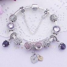 Изысканные европейские браслеты стекло кристалл шармы Бусины Подходит для европейских браслетов и браслетов фиолетовый Романтическая любовь бусины браслеты