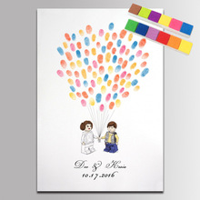 Жених и невеста свадебное Гостевая книга знак отпечатки пальца для пары под заказ воздушные шары имена и Дата печати отпечатков пальцев Свадебные украшения