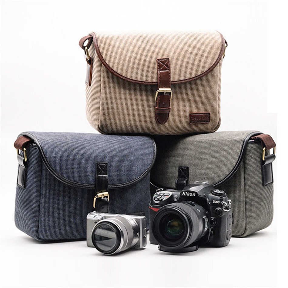 Universal Camera Bag gray Canvas for Canon EOS 100D 200D