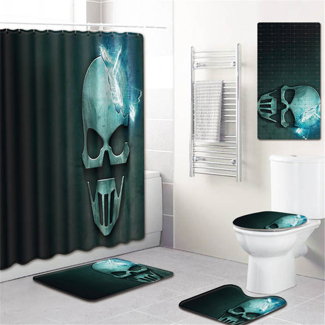 Set Skull Shower Curtain Bath Rug