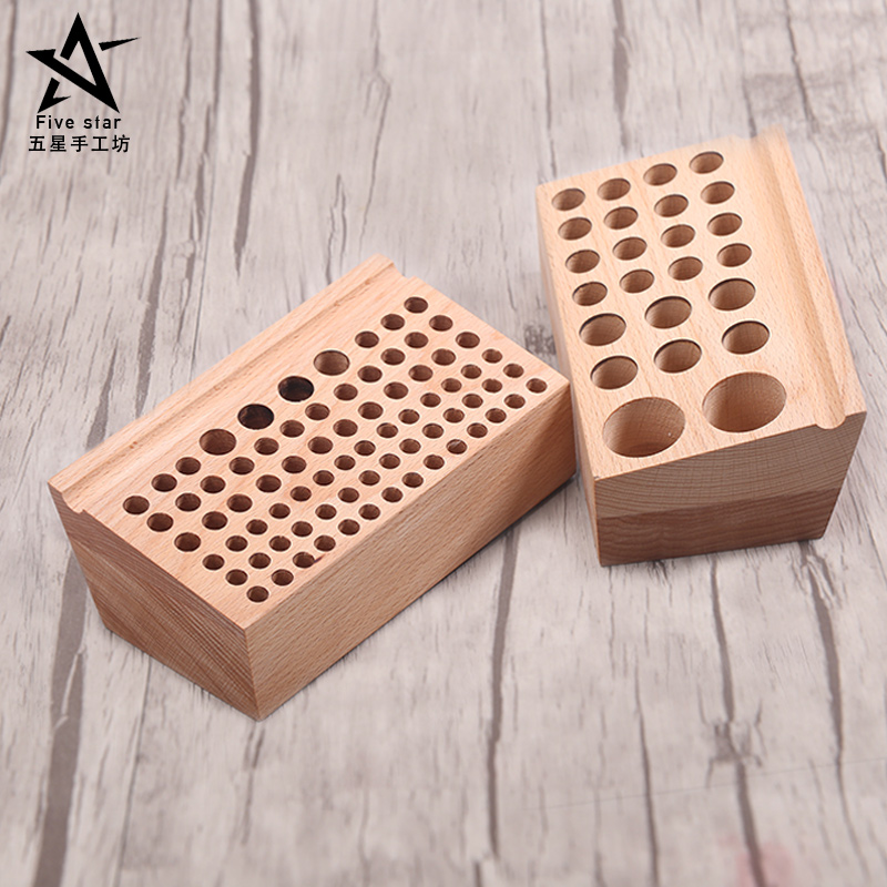 DIY Tools Solid Wood Storage Tool Rack Punch Printing Tool Storagetable Cut Round Blunt Leather Engraving Tools 76 hole 24 holes 5 inch automatic center pin punch spring loaded marking starting holes tool alloy automatic centre punch ng4s